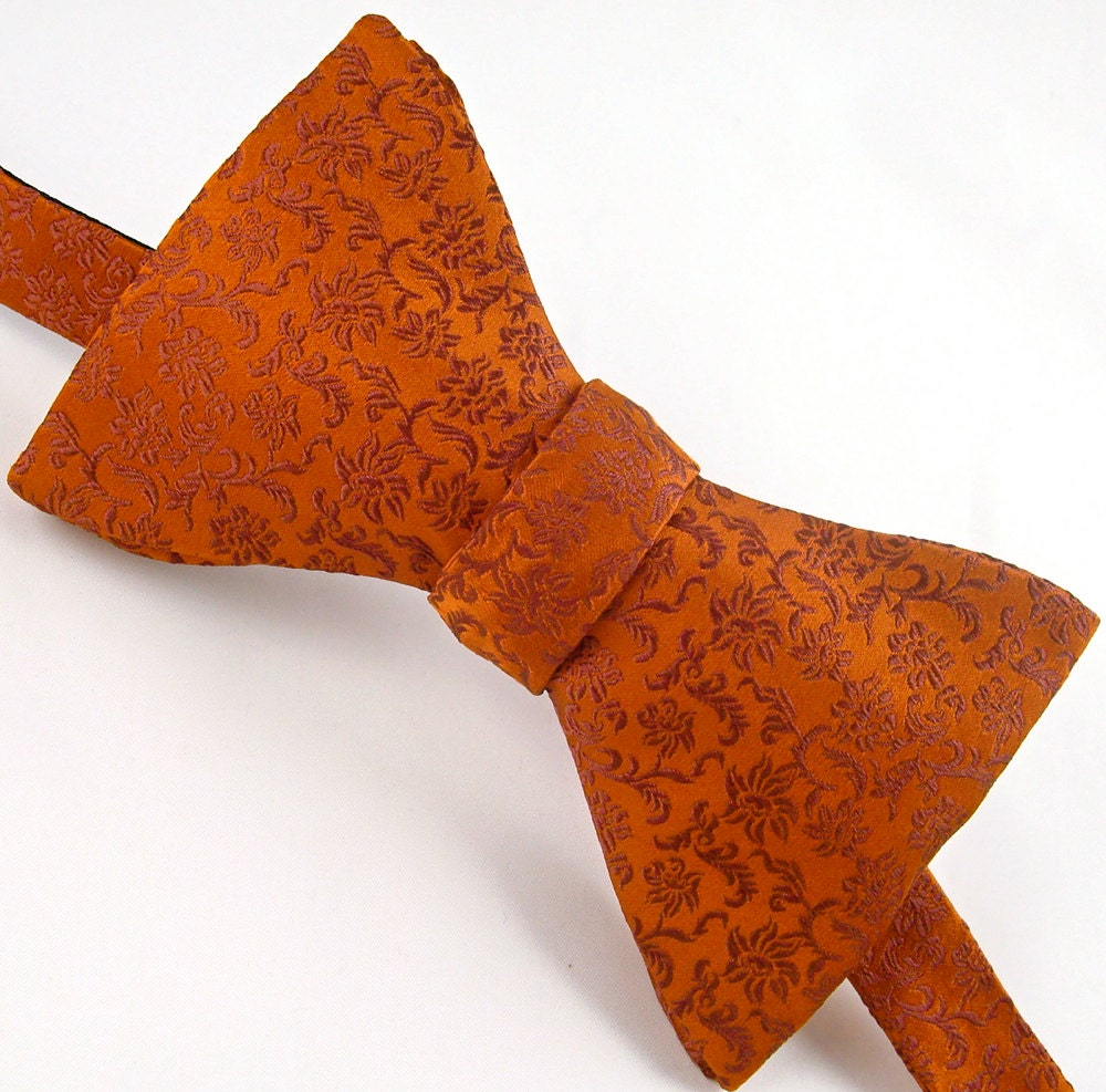Burnt Orange Silk Bow Tie Mens, Fall Autumn Fashion - 'Burnt Garden' - VaVaSilkBowTies