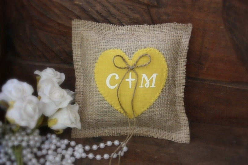 Rustic burlap with a canary yellow fabric heart personalized with your