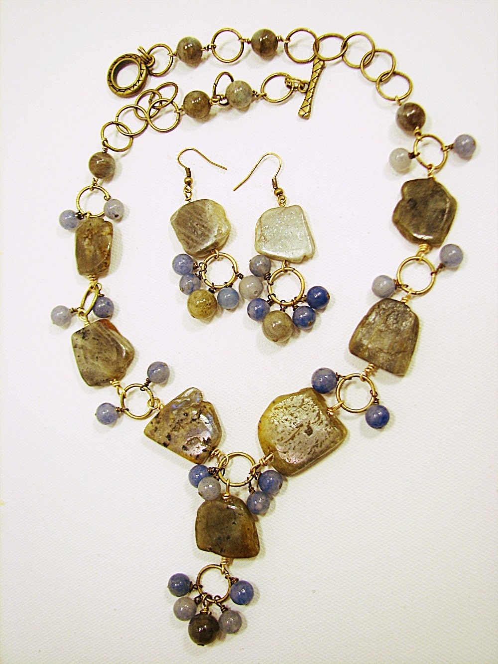 Chunky Labradorite with Blue Aventurine Flirty and Feminine Necklace Set
