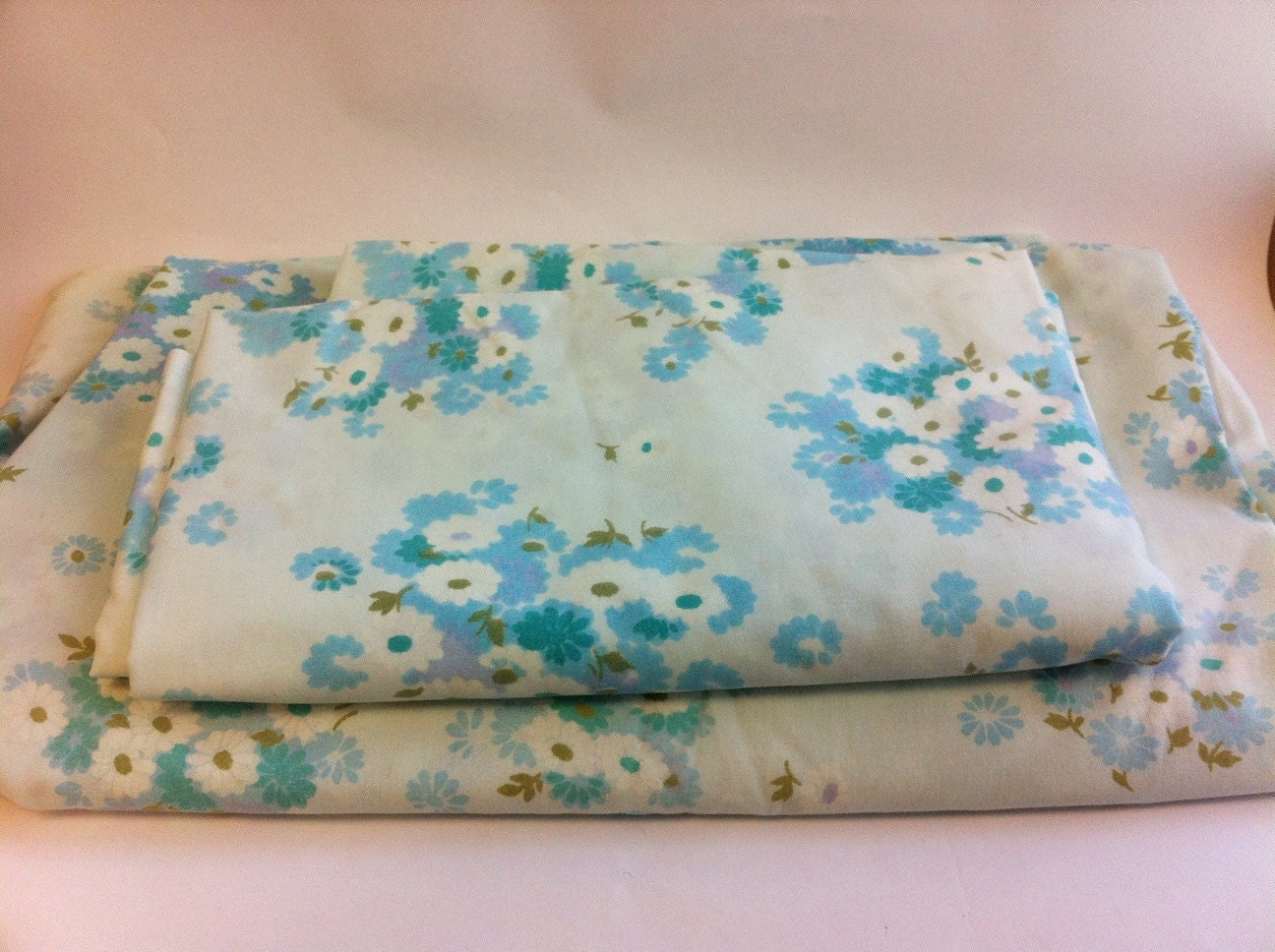 Vintage floral sheet set Twin Flat sheet Twin by AllisonKapner
