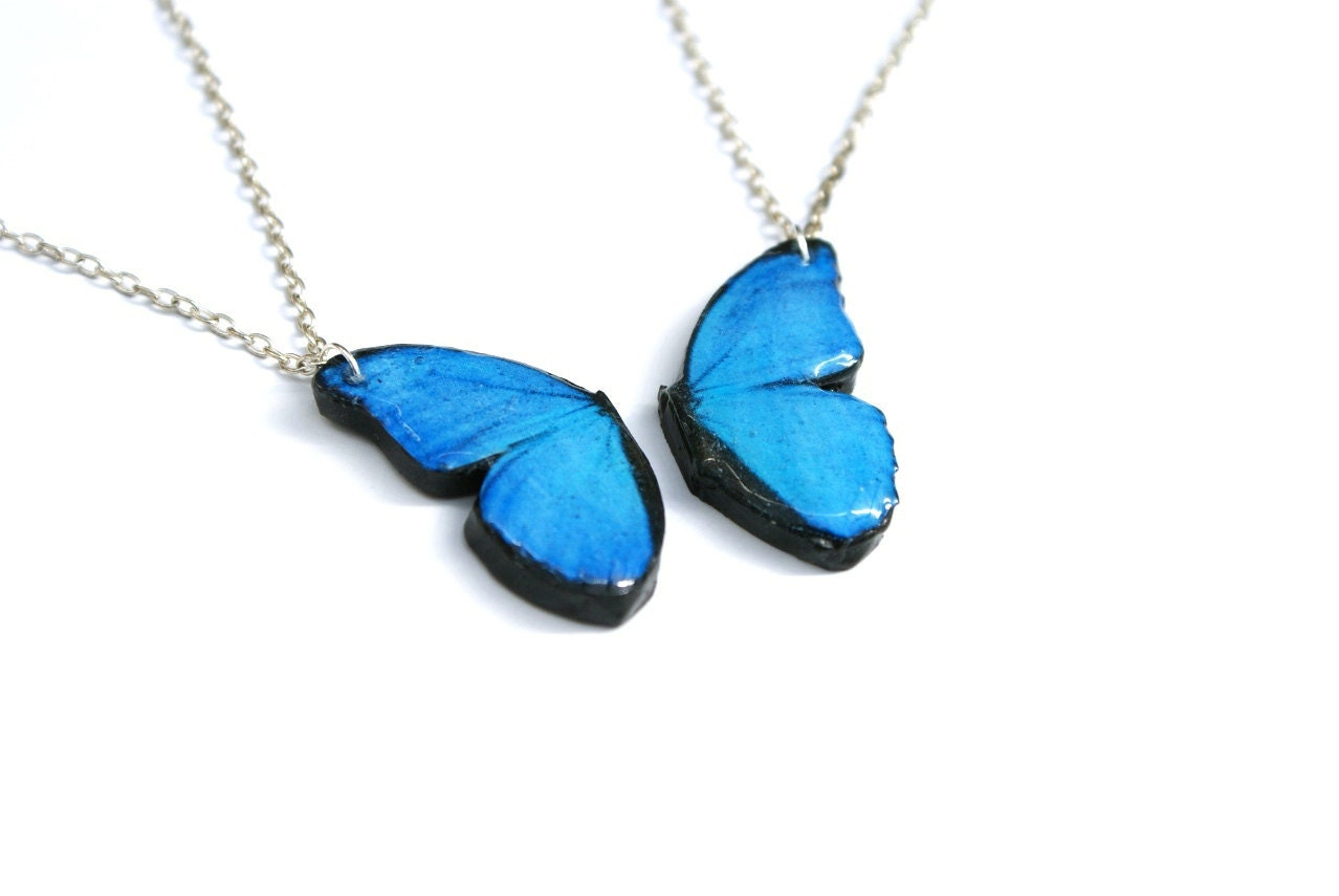 Blue Butterfly Friendship Necklace, Blue Morpho, 16 inch chains - PeachesandPebbles