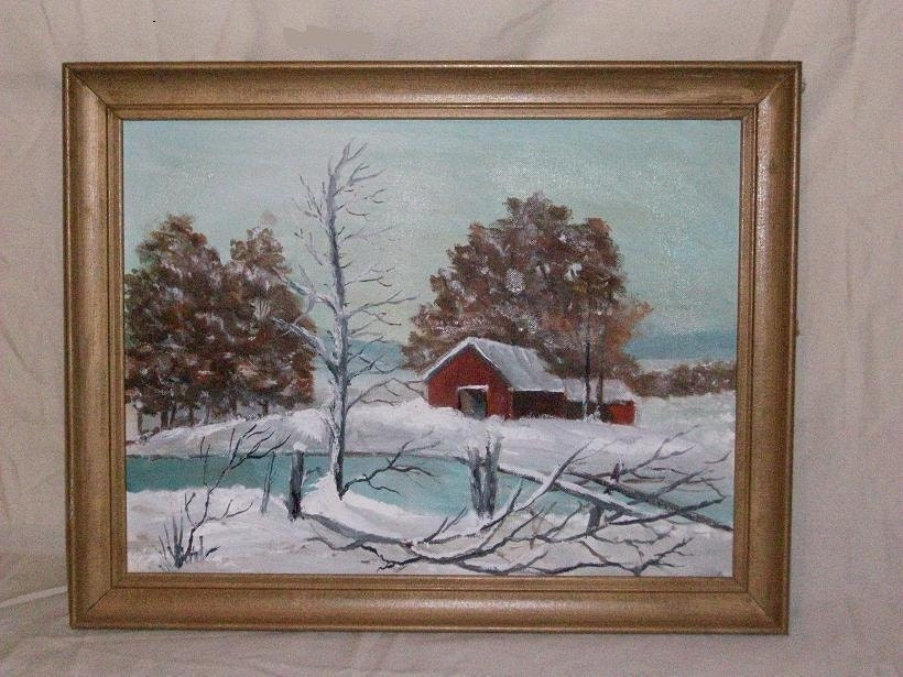 Vintage 1950's paint by numbers Barn in Winter scene painting