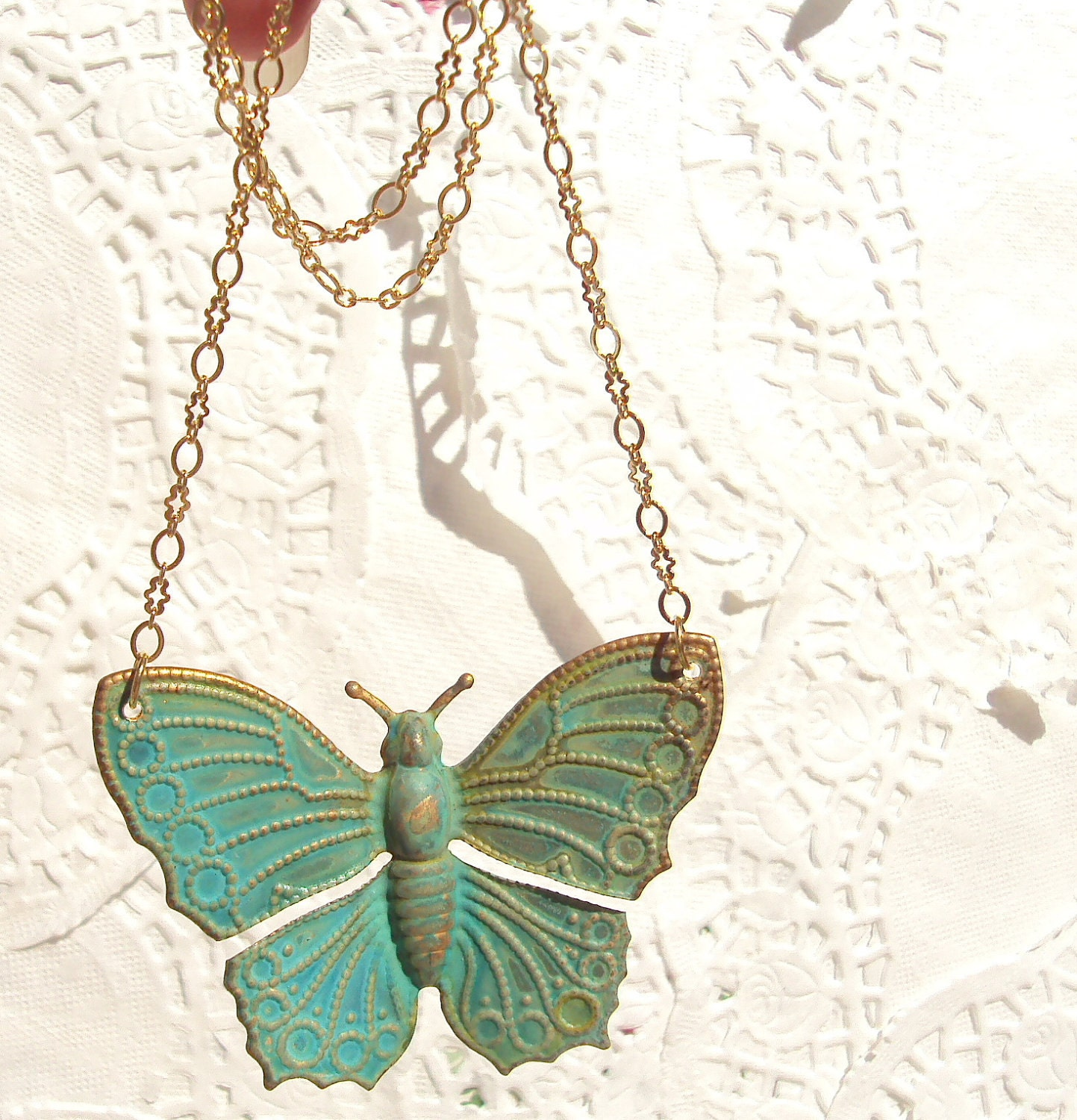 Soaring - Butterfly Necklace Verdigris