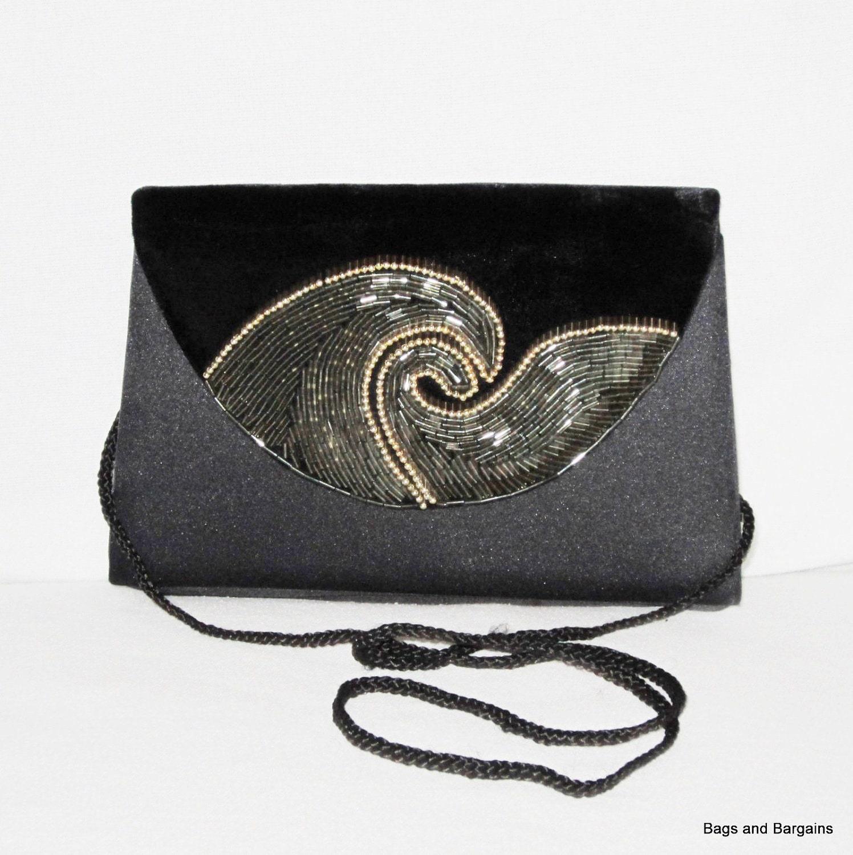 EVENING BAG Black Satin Evening Clutch Velvet Beaded Wave Front Flap - Lovely - Mint