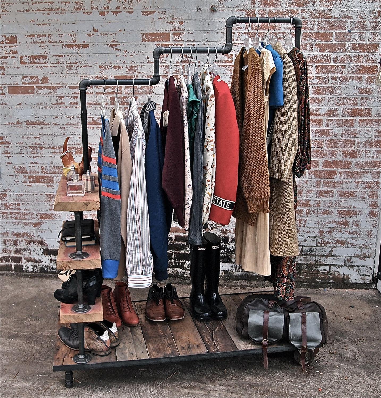 Industrial Garment Rack Triple Level Possum Belly
