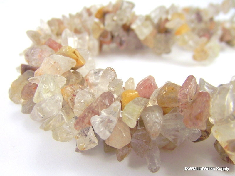 Rutilated Quartz Chip Beads, 16 Inch Strand, Whole Strand - JSWMetalWorksSupply