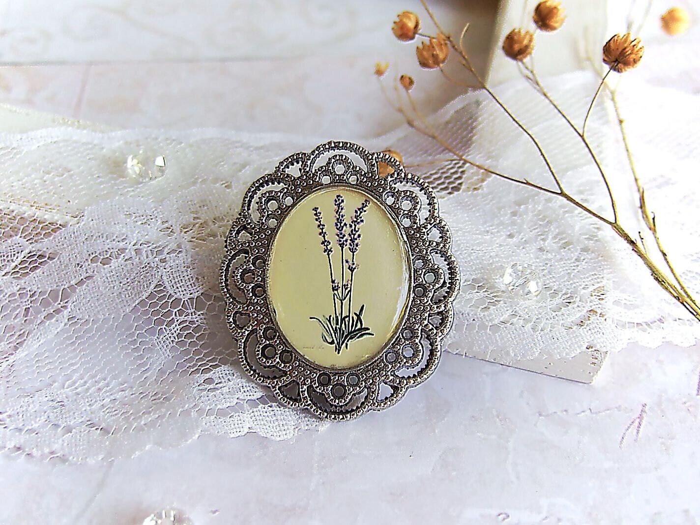Resin Vintage Boho Provence Romantic Brooch Lavender - WonderLandBijouterie
