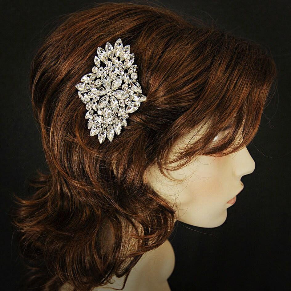VARINA, Art Deco Rhinestone Bridal Hair Comb, Bridal Hair Accessory, Vintage Wedding Wedding Hair Accessory, Old Hollywood Bridal Hair Comb