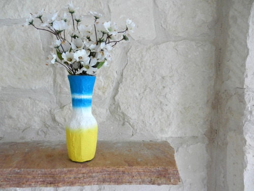 Yellow and Blue Vase - flower vase - Spring Home Decor - Sun and Sky Inspired - CarriageOakCottage