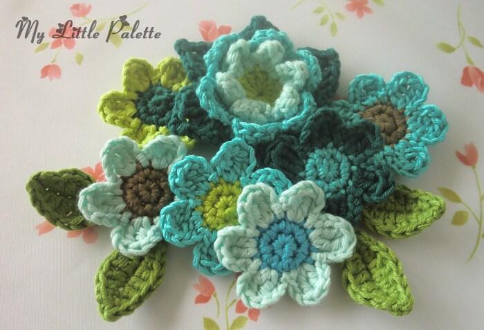 Crochet Flower Appliques in Blue and Green--( 11 pcs ) OC-BO-69 - Mylittlepalette
