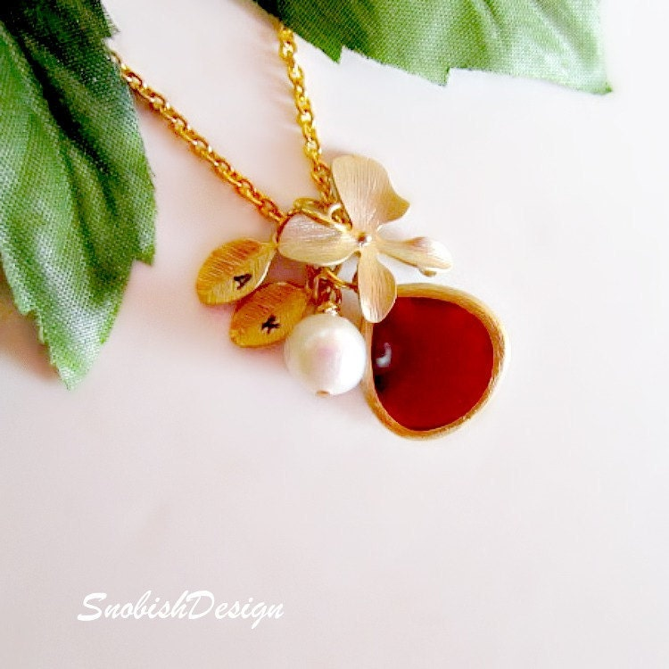 Garnet Jewelry Hand Stamped Initial Necklace Gold by SnobishDesign from etsy.com