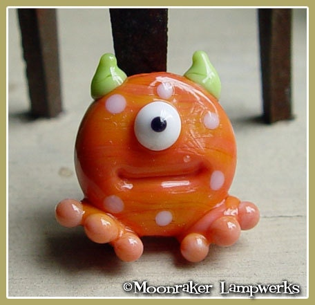 Orange Spotted Lil Monster Halloween Lampwork Bead