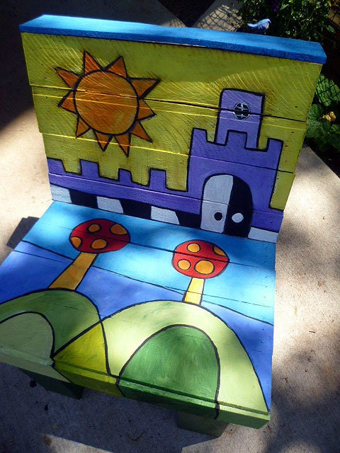 Paletas de madera reciclada para niños jóvenes Muebles Presidente Castillo Pintado Resumen