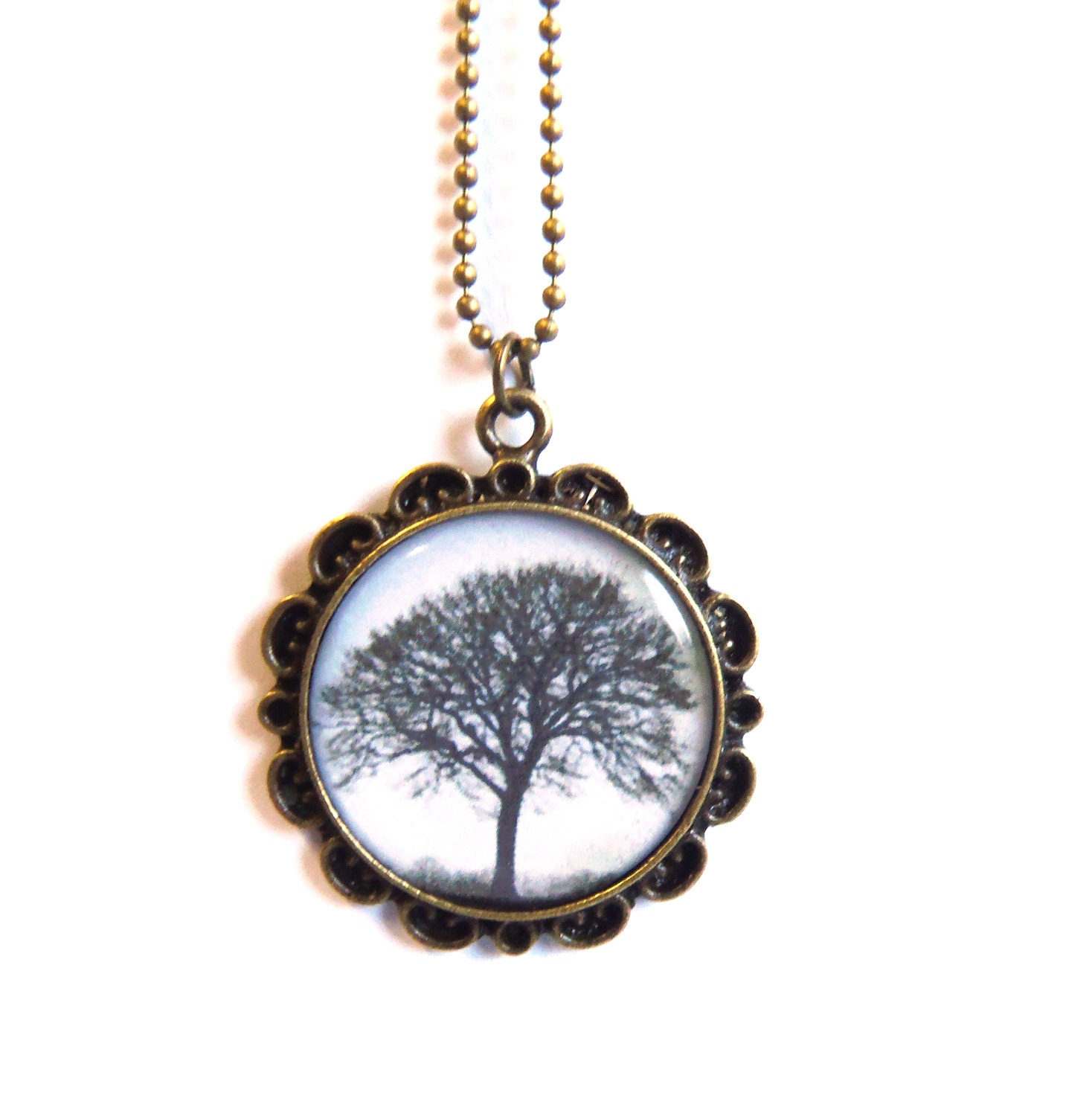 Tree necklace with antique brass floral pendant base - agatechristina