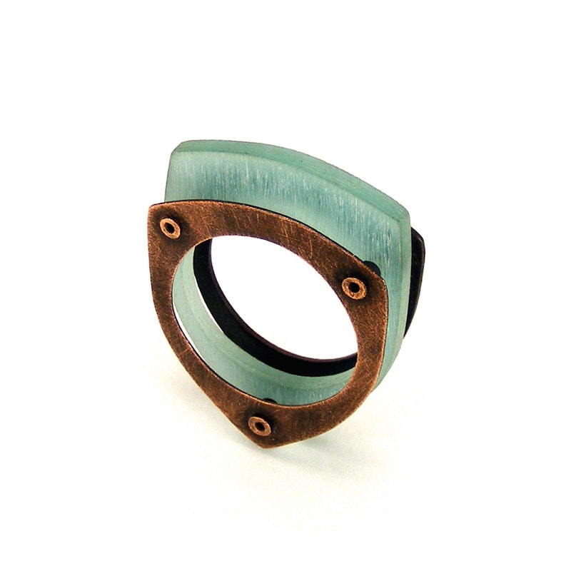 Oxidized Copper and Aqua Resin Riveted Ring - Sentiment - mkwind