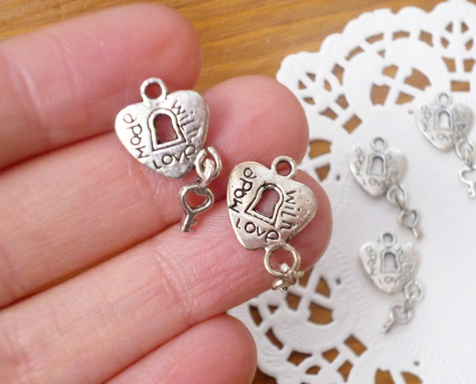 Charms for Crafting Accessories - Made with Love Inscription - SIX Pieces