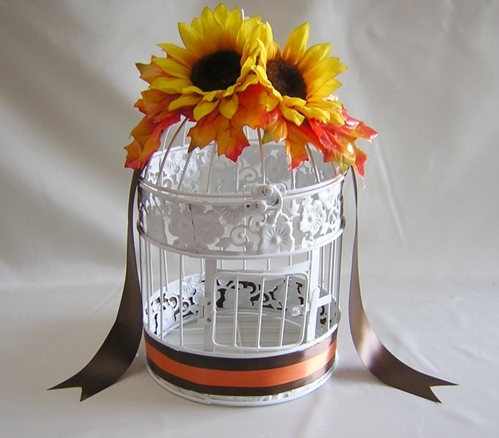 Kandace s sunflower fall wedding birdcage card