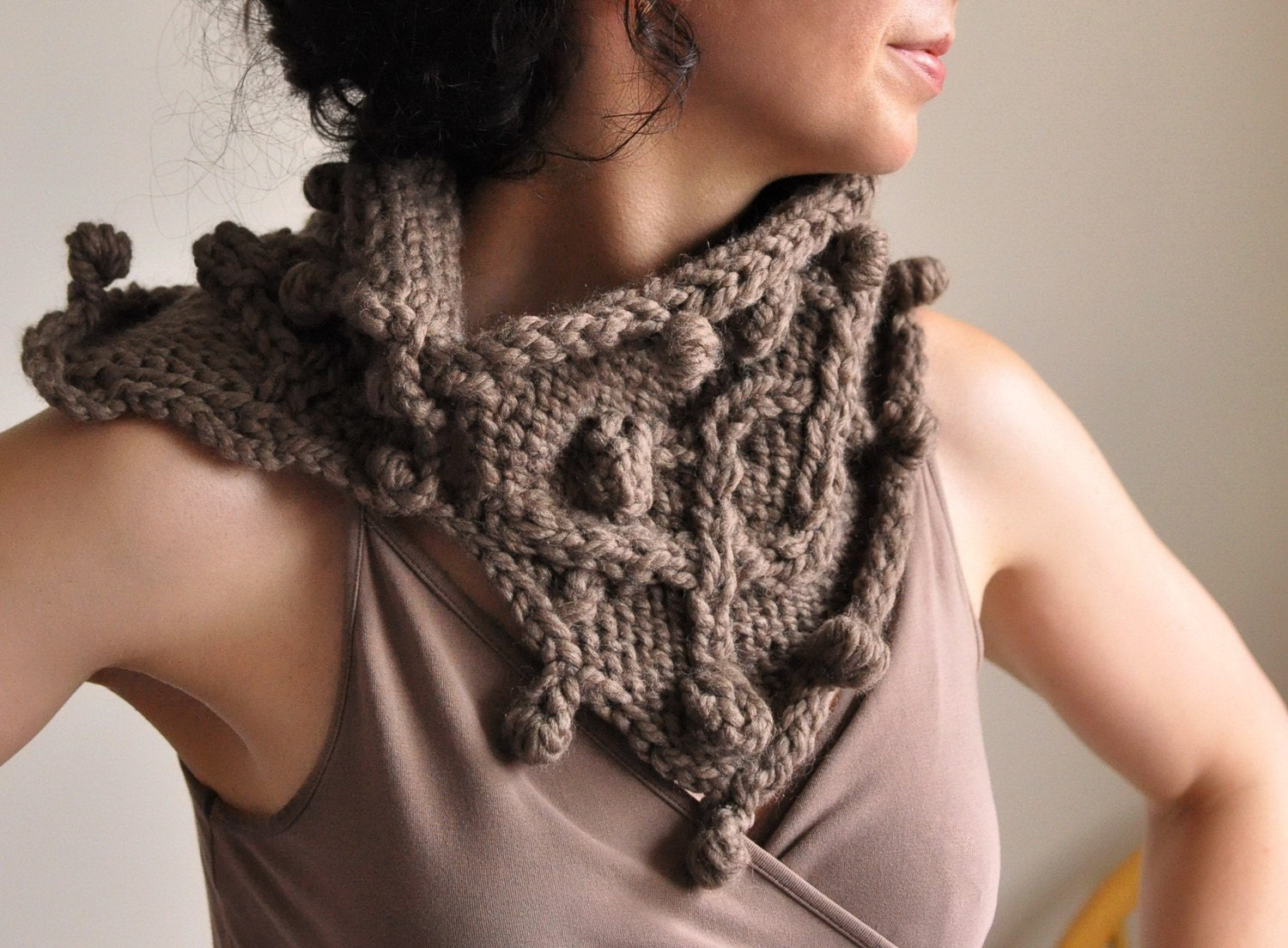 Heard It Through The Grapevine - superchunky designer handknit scarf / wrap / neckwarmer / cowl in taupe MADE TO ORDER in 16 colors