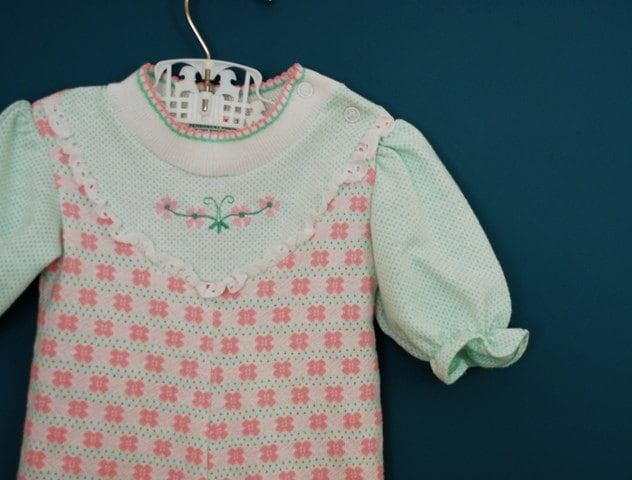 Vintage Baby Girl's Pink and Mint Green Jumpsuit- Size 3 Months - SweetShopVintage