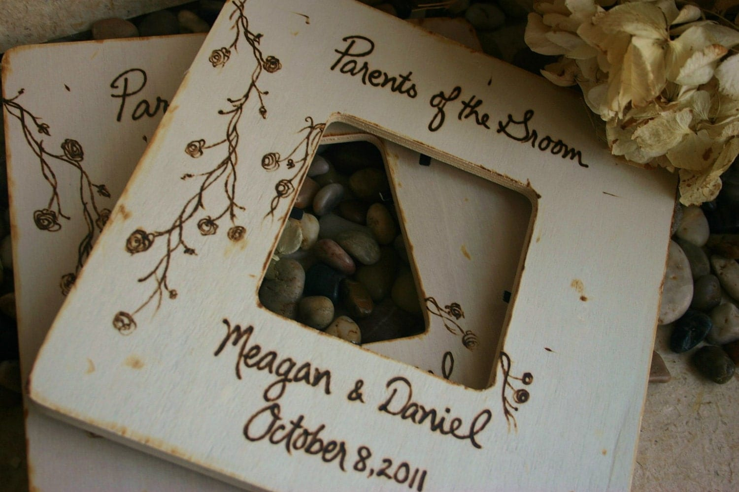 Wedding Gifts for Parents of the Bride and Groom SET of 2 Rustic Personalized Frames with Your Names and Dates
