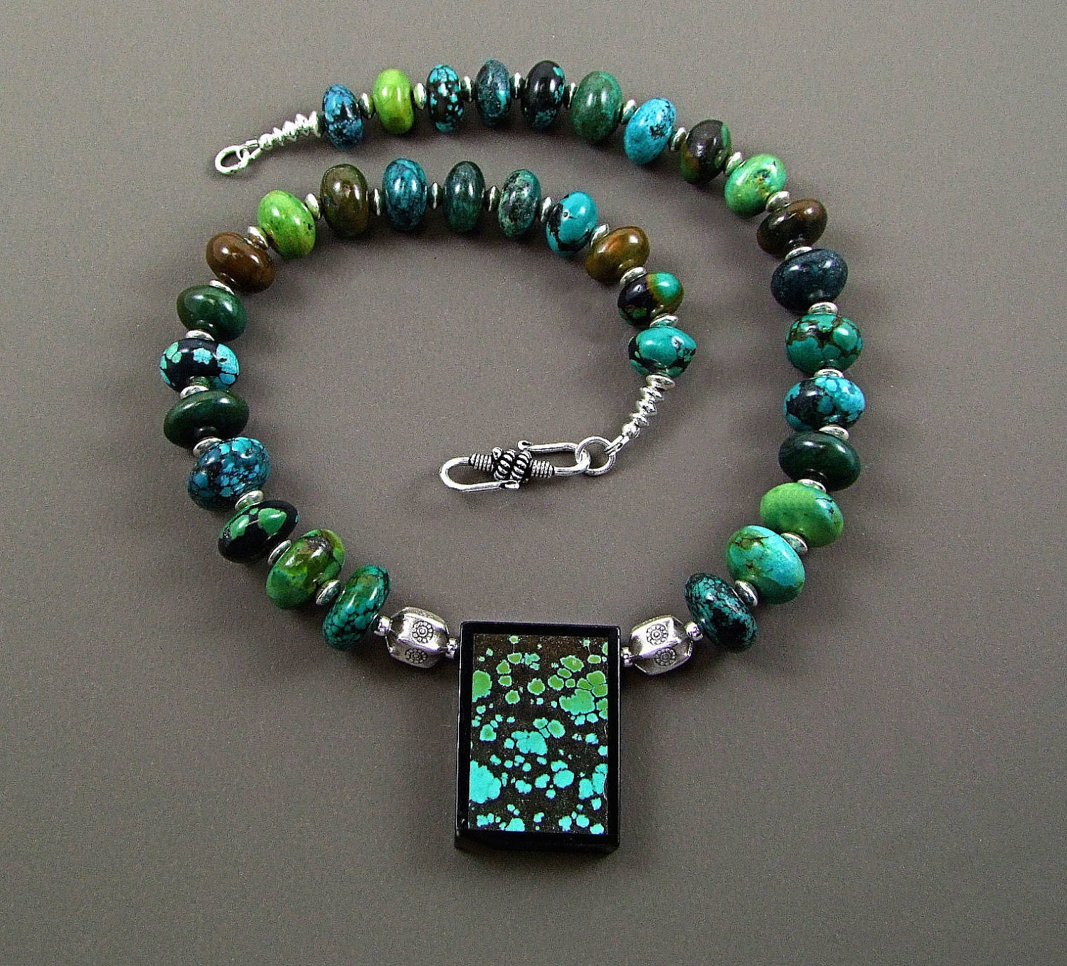 Turquoise Dragonskin Intarsia Necklace Stunning by TheSilverBear