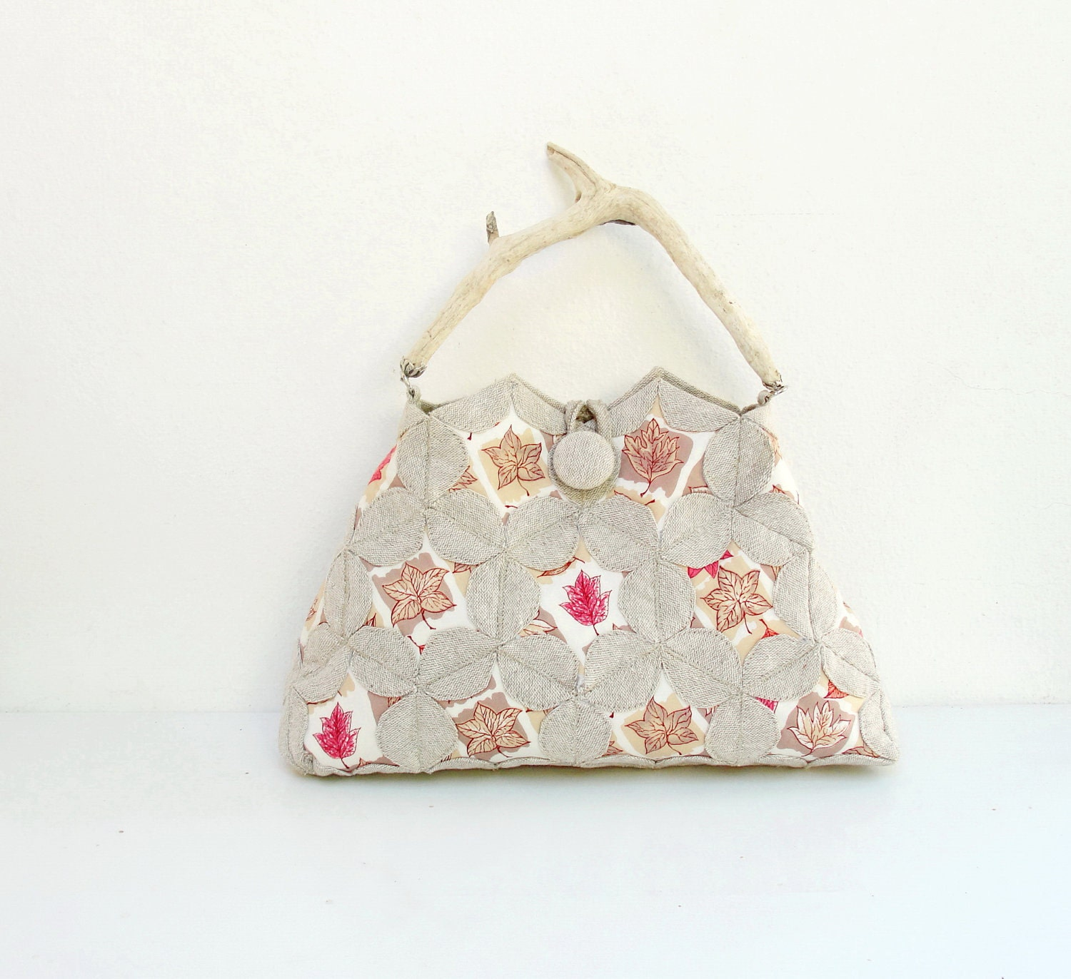 A Walk in the Woods Bag - Window Quilting and Orinuno with Vintage Linen and Driftwood - StarBags