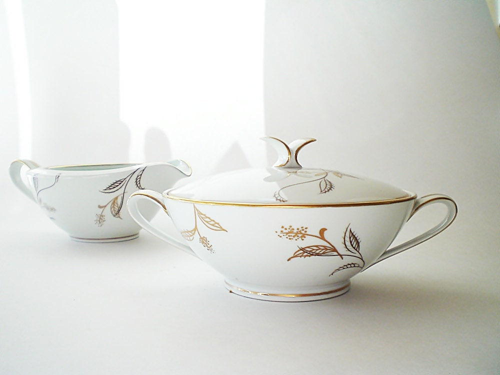 Vintage Noritake China Cream & Sugar Bowl Mid Century Serving