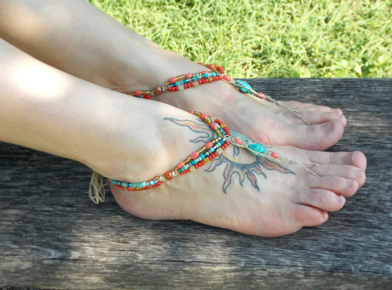 Bohemian Barefoot Sandals Beaded Sandals Gypsy Hippie Shoe Toe Thong Coral Turquoise Barefoot Jewelry - MoJosFreeSpirit