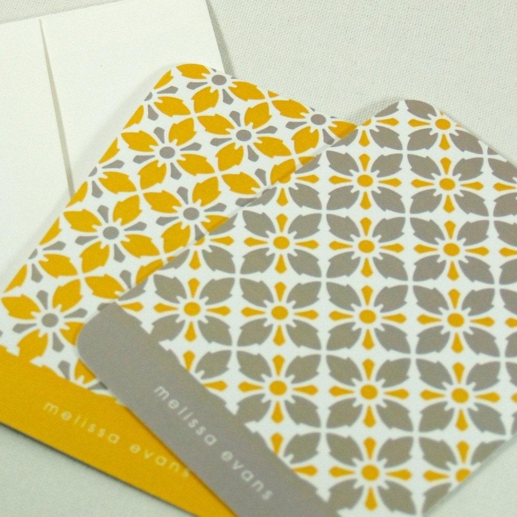 personalized note cards stationery set -vintage modern wallpaper pattern (set of 8)