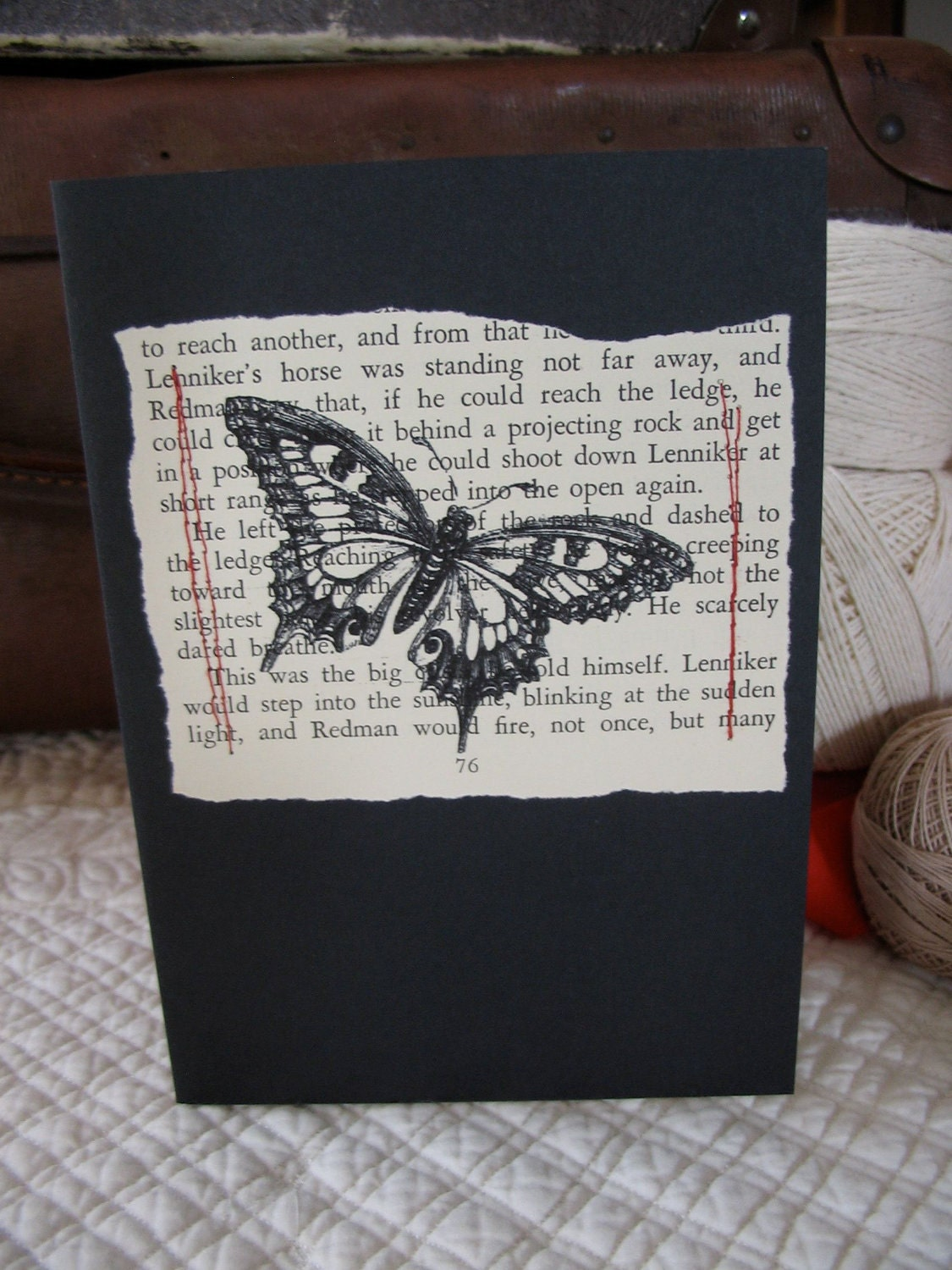 Recycled Book Page Printed Butterfly Blank Card - luciandjoe