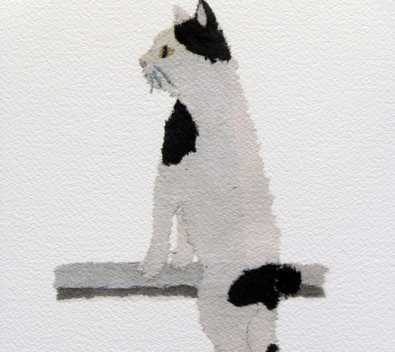 Newspaper Collage Art, Japanese Bobtail Cat, Minimalist Art