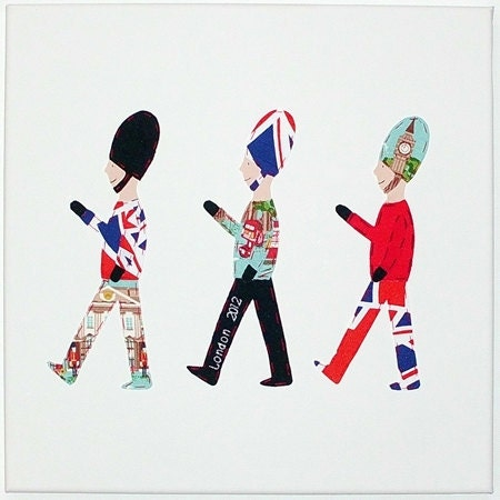 SOLDIERS CANVAS LONDON 2012 / Queens Jubilee Applique wall pictue, bedroom decoration, wall plaque. Made using Cath Kidston's London fabric