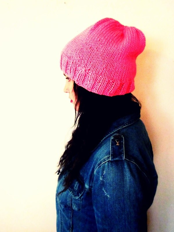 Slouchy Beanie in Neon Pink Higlighter - Knit - Slouchy Hat - Skullcap - Ski - Toque - Softspoken - VEGAN