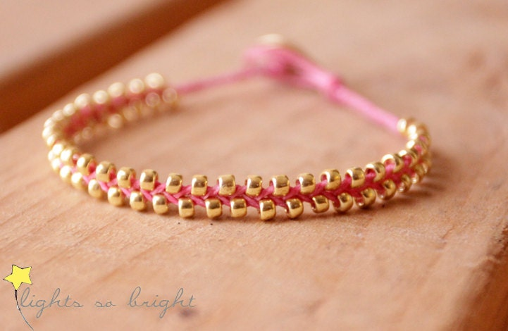 Woven Beaded Friendship Bracelet--FUCHSIA