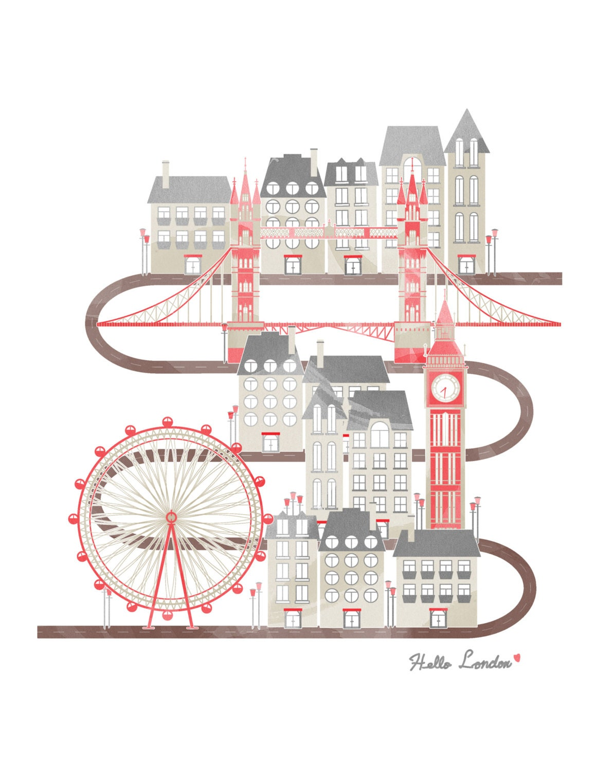 Travel in London Illustration Poster - UniStyle