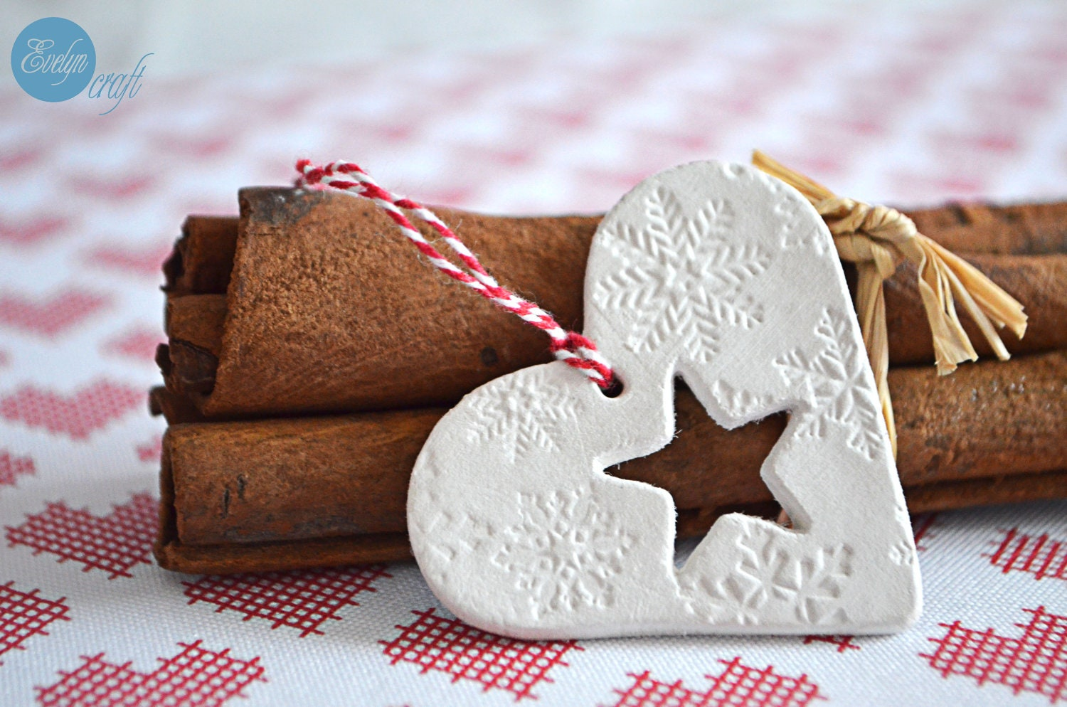 Christmas decoration clay small heart tags with  twine and stamps