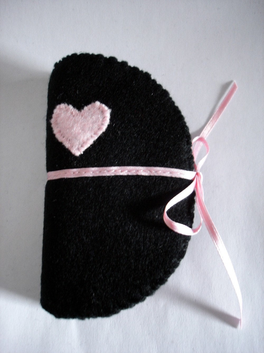 Black Needle Case with Pale Pink Heart Embroidery