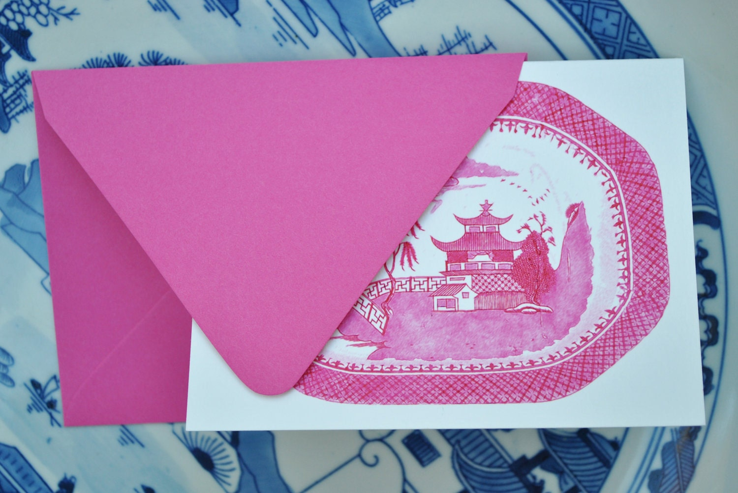 Blue Willow in Pink Set of Eight Foldover Notecards and Envelopes - thepinkpagoda