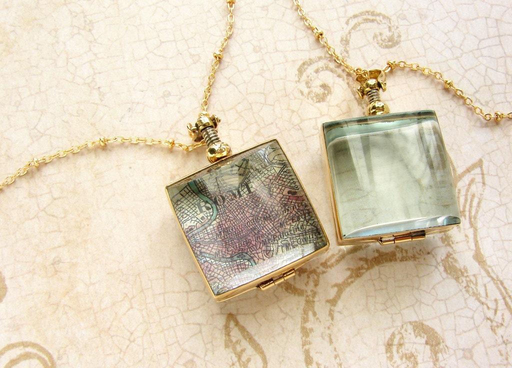 Square beveled glass locket long necklace - brass gold tone square heirloom glass locket necklace bridal wedding locket