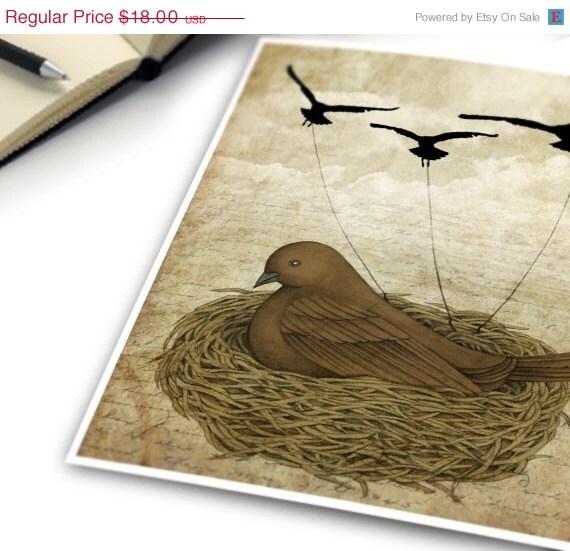 JUNE SALE 20% OFF Print of Original Mixed Mediums Digital Illustration, Reproduction Digital Print - The Returning Children by Amalia K 8x1