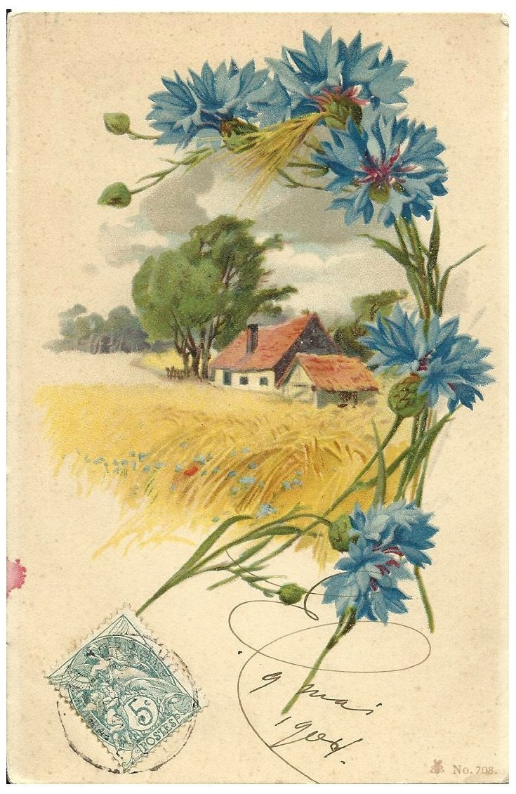 Vintage French Postcard - handwritten - french country home flowers stamp - FolieduJour