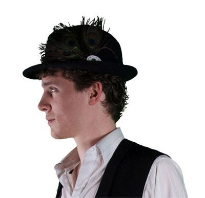 black upcycled fedora with peacock feathers