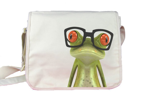 Mitsos the Frog is a teacher - Messenger Nylon 420d bag - White - Spacious main compartment with organizer features and flat inside pocket
