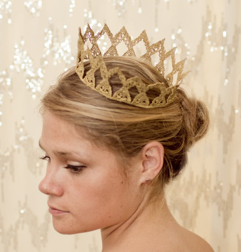 Gold Maiden Fairytale Lace Crown - neesiedesigns