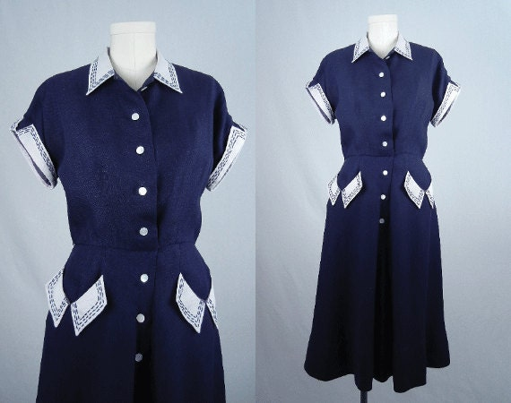 Vintage 1940s Dress / Navy and White Linen Bias Cut