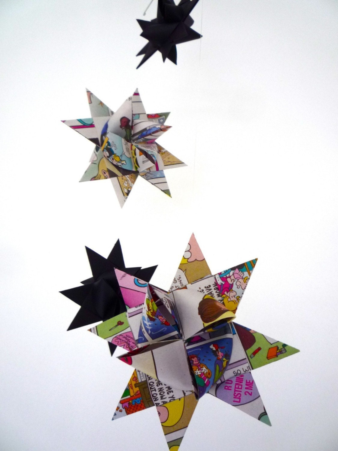 Hanging Origami Star Mobile -'Antila' Funnies Newspaper Recycled