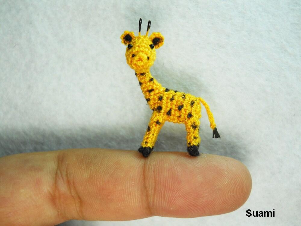 Cute Tiny Giraffe - Micro Crochet Miniature Animals - Standing Yellow Girrafe - Made To Order