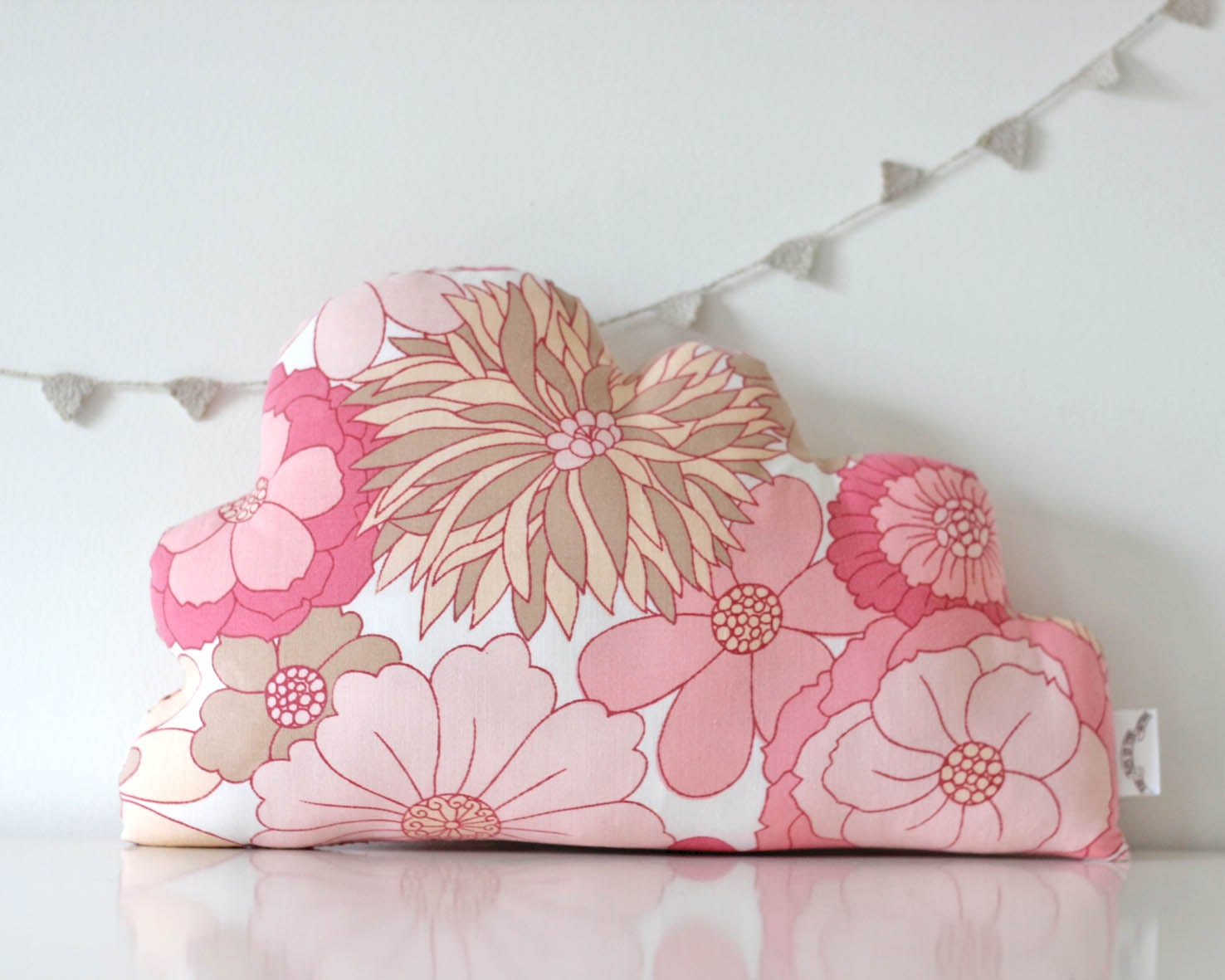 Cloud Cushion Vintage Pink Floral Fabric MEDIUM - TheFoxintheAttic