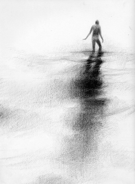 Haunting Figure Drawing Water Wading Gothic Haunting Moody Shadow Dark Fog Fine Art Crayon Wander XVII - ClaraLieuFineArt