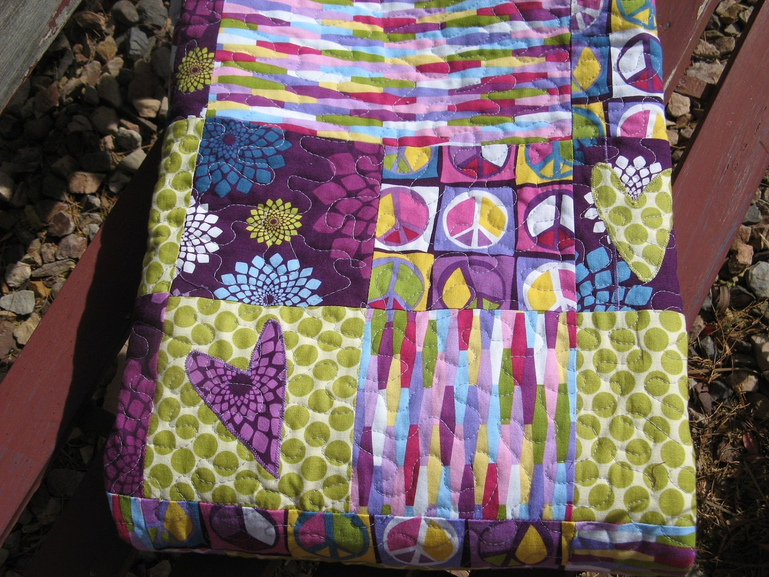 Custom Peace and Love Personalized Baby Quilt